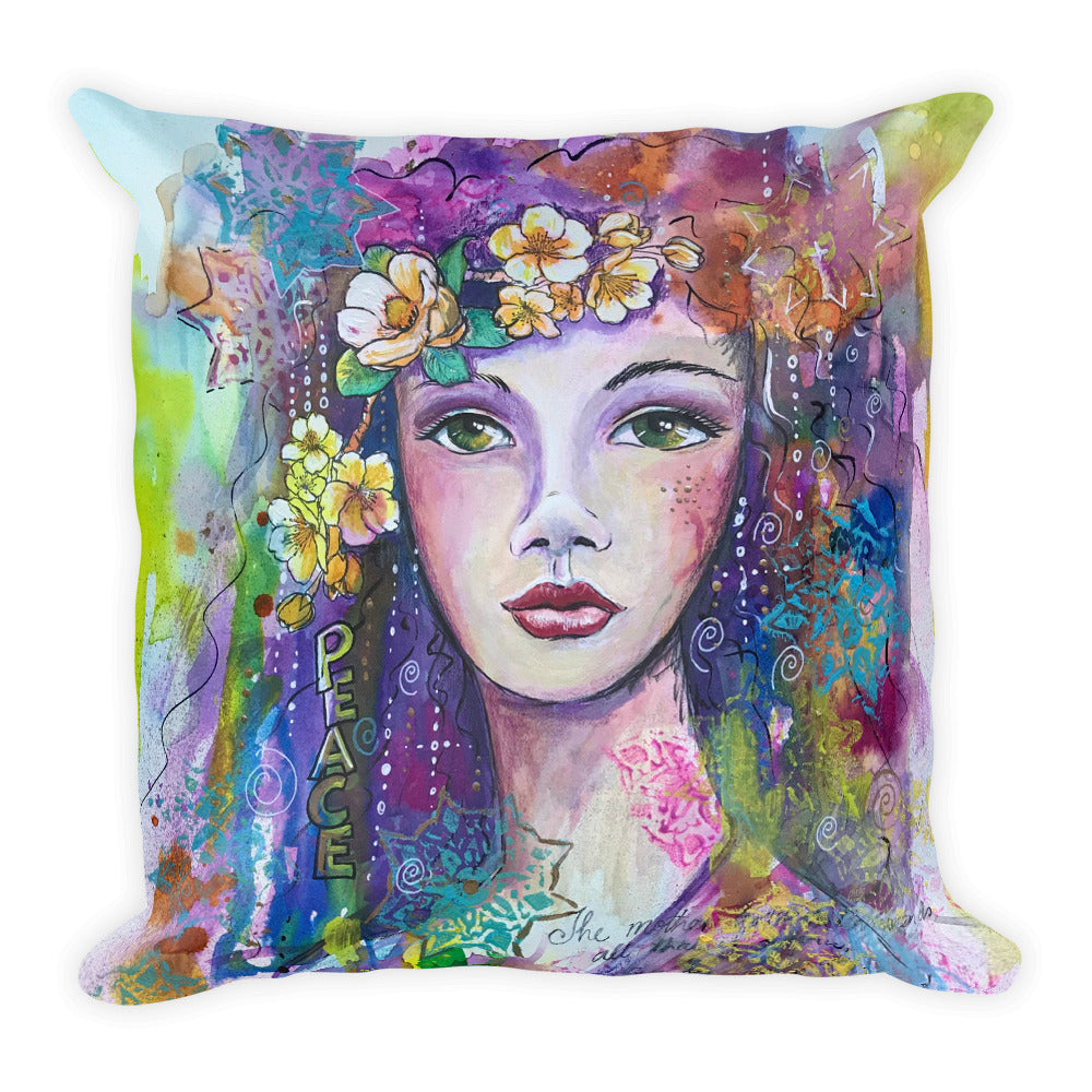 Goddess of Peace throw cushion - original design