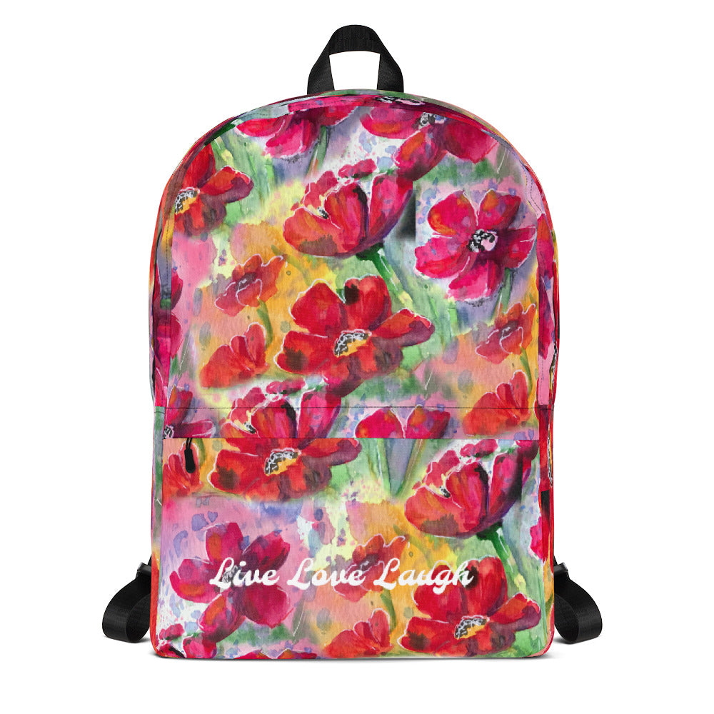 Watercolour Poppies Back pack  By Lucy