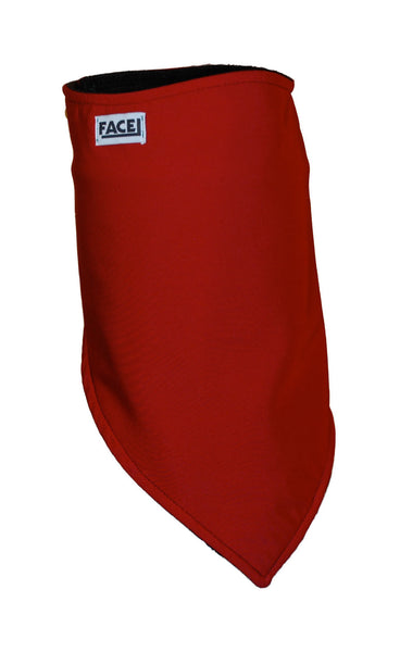 Red velcro backed fleece lined bandana for winter sports