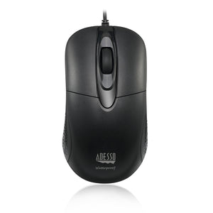 Adesso® iMouse W4 Black Waterproof Antimicrobial Optical Mouse