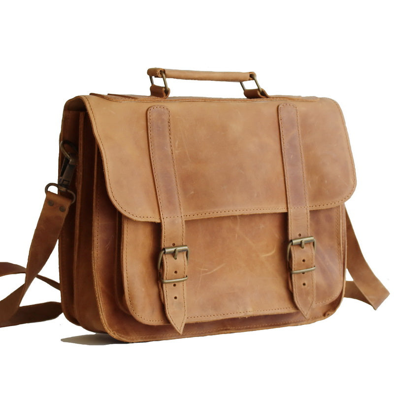 bc040b659e Handmade Leather Laptop bag with 100% genuine leather 13  -15