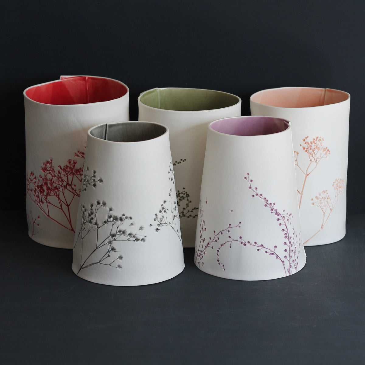Porcelain Handmade Botanical Imprint Vases Collection Colour Glazed on Ceramics