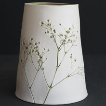 Handcrafted Botanical Imprinted Porcelain Cone Shape Vase Green Colour Glazed Handmade Ceramics