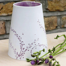 Handcrafted Botanical Imprint Porcelain Cone Shape Vase in Lavender Glazed Colour Handmade Ceramics