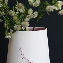 Handcrafted Botanical Imprinted Porcelain Cone Shape Vase in Lavender Glazed Colour Handmade Ceramics
