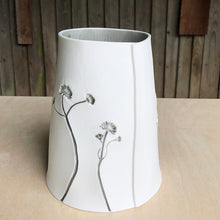 Handcrafted Porcelain With Botanical Imprinted Cone Shape Vase With Sage Colour Glaze Ceramics Handmade in London