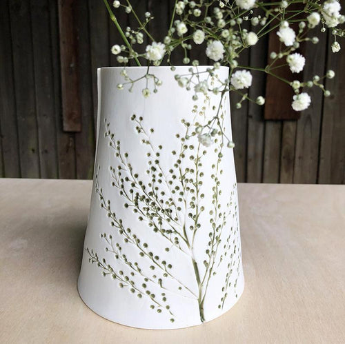 Handcrafted Botanical Imprinted Porcelain Cone Shape Vase Green Glazed Handmade Ceramics in London from Luminous Muse Ceramics