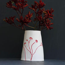 Handcrafted Botanical Imprinted Porcelain Cone Shape Vase Red Colour Glazed Handmade Ceramics in London