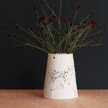 Handcrafted Botanical Imprinted Porcelain Cone Shape Vase Sage Glazed Handmade Ceramics in London