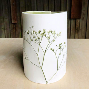 Botanical Imprinted Porcelain Cylinder Shape Vase - Green