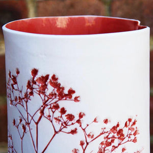 Handcrafted Botanical Imprinted Porcelain Cylinder Shape Vase in Red Glazed Colour Handmade Ceramics