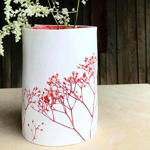 Handcrafted Botanical Imprint Porcelain Cylinder Shape Vase in Red Glazed Colour Handmade Ceramics