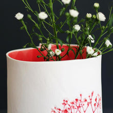 Handcrafted Botanical Imprinted Porcelain Cylinder Shape Vase in Red Glazed Colour Handmade Ceramics in London