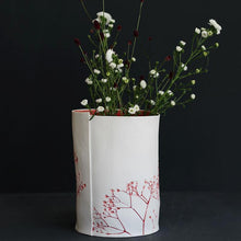 Handcrafted Botanical Imprint Porcelain Cylinder Shape Vase in Red Glazed Colour Handmade Ceramics in London