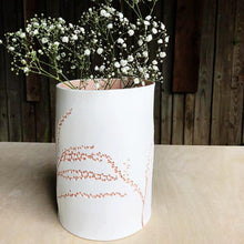 Handcrafted Botanical Imprinted Porcelain Cylinder Shape Vase in Coral Colour Glazed Handmade Ceramics in London