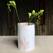 Handcrafted Botanical Imprinted Porcelain Cylinder Shape Vase in Coral Glazed Colour Handmade Ceramics in London