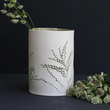 Handcrafted Botanical Imprinted Porcelain Cylinder Shape Vase in Green Colour Glazed Handmade Ceramics in London