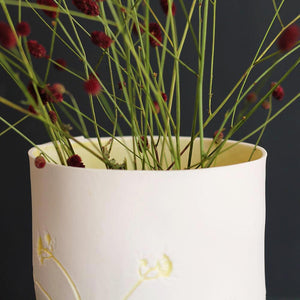 Handcrafted Botanical Imprinted Porcelain Cylinder Shape Vase with Yellow Colour Glazed Handmade Ceramics in London
