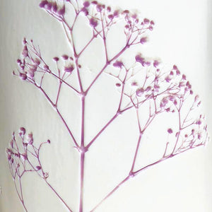 Handcrafted Botanical Imprint Porcelain Cylinder Shape Vase with Lavender Colour Glazed Handmade Ceramics in London