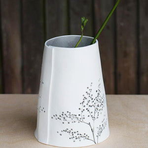 Handcrafted Botanical Imprinted Porcelain Cone Shape Sage Green Glazed Handmade Ceramics in London