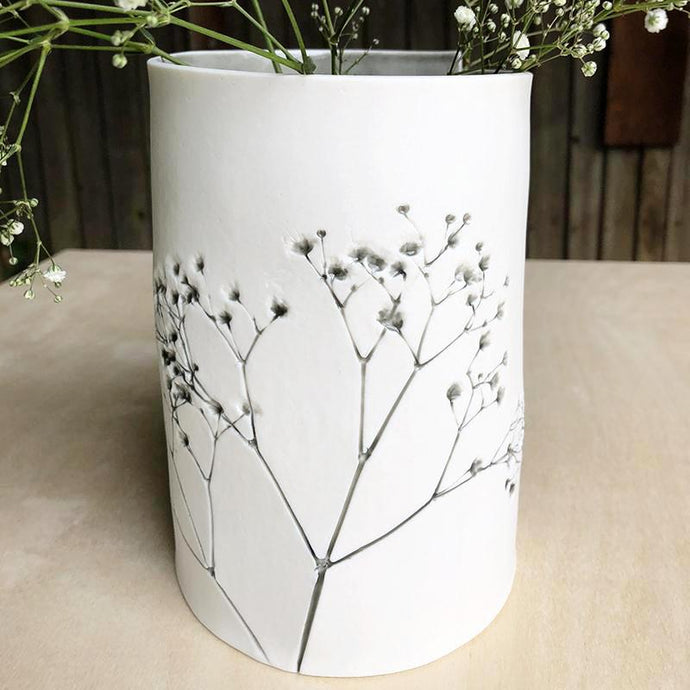 Handcrafted Botanical Imprint Porcelain Cylinder Shape Vase Sage Glazed Handmade Ceramics in London