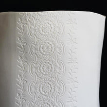 Handcrafted Table Top Electric Lamp Translucent Porcelain with Vintage Lace Imprinted with Silver Flex Cable and Electrical Fittings Ceramics Handmade in London