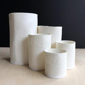 Handmade Porcelain Tea Light Holder Collection With Vintage Lace Imprint Unglazed Ceramics