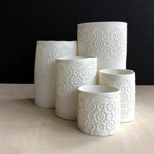 Set of porcelain collection of tea light holders with delicate  vintage lace imprint  handmade ceramics