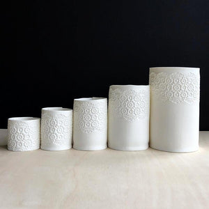 Set of porcelain collection of tea light holders with delicate  vintage lace imprint  handmade ceramics unglazed
