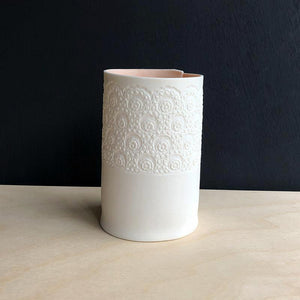 Handcrafted Porcelain Tea Light Holder With Vintage Lace Imprint Colour Glazed Coral