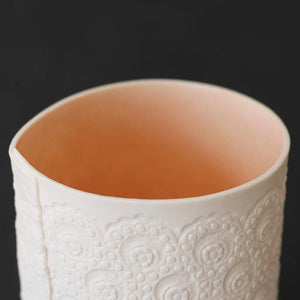 Handcrafted Porcelain Tea Light Holder With Vintage Lace Imprinted and Colour Glazed in Coral on the inside only