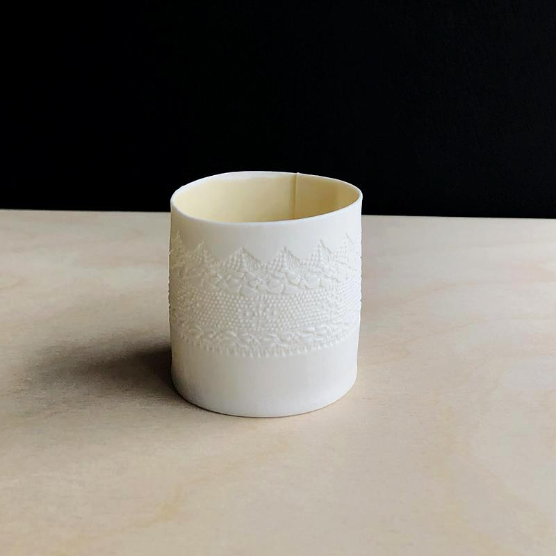 Handcrafted Porcelain Tea Light Holder With Vintage Lace Imprinted and Flesh Colour Glazed Handmade Ceramics in London