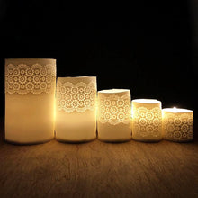 Set of porcelain collection of tea light holders with vintage lace imprint  handmade ceramics unglazed