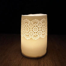 Porcelain tea light holders with vintage lace imprint  handmade ceramics unglazed