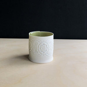 Handcrafted Porcelain Tea Light Holder With Vintage Lace Imprinted and Green Colour Glazed Handmade Ceramics in London