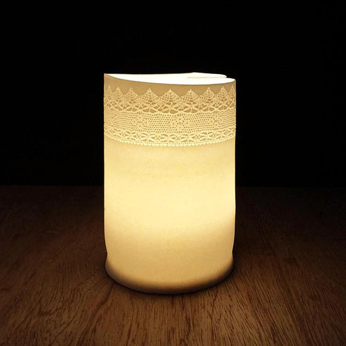 Handmade Porcelain Tea Light Holder With Vintage Lace Imprint Unglazed Ceramics
