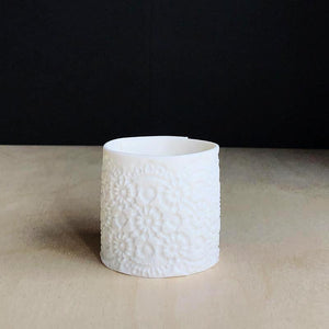 Porcelain tea light holder unglazed with delicate imprint vintage lace handcraft ceramics unglazed