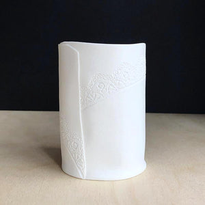Handmade Porcelain Tea Light Holder Collection With Vintage Lace Imprint Unglazed Ceramics Large Size
