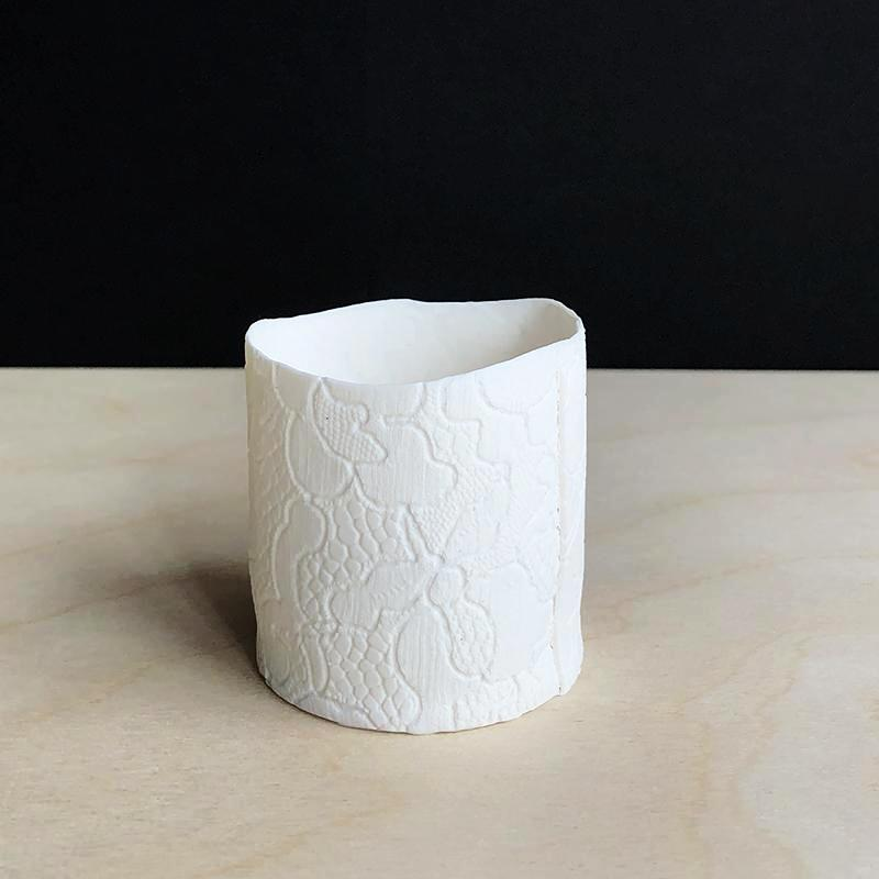 Handmade Porcelain Tea Light Holder Collection With Vintage Lace Imprint Unglazed  Handcrafted Ceramics
