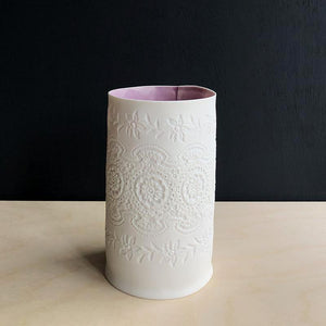 Handcrafted Porcelain Tea Light Holder With Vintage Lace Imprinted and Lavender Colour Glazed Handmade Ceramics in London