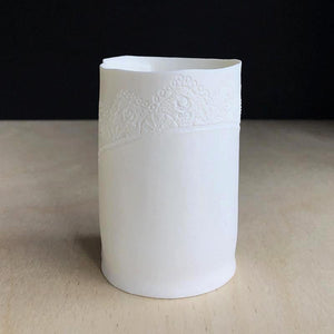 Handmade Porcelain Tea Light Holder Collection With Vintage Lace Imprint Unglazed Ceramics Medium Size