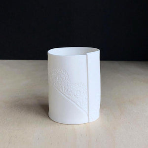 Handmade Porcelain Tea Light Holder Collection With Vintage Lace Imprint Unglazed Ceramics Small Size