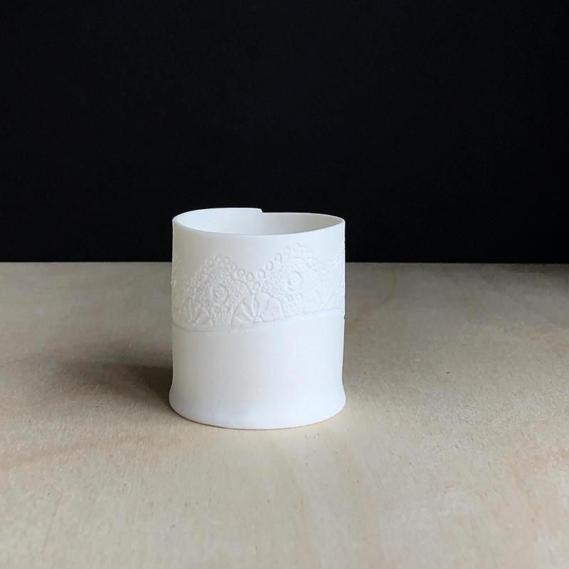 Handmade Porcelain Tea Light Holder Collection With Vintage Lace Imprint Unglazed Ceramics Very Small Size