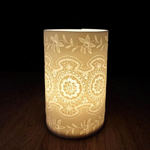 Handmade Porcelain Tea Light Holder With Vintage Lace Imprint Unglazed Handcrafted Ceramics