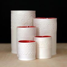 Handcrafted Porcelain Tea Light Holder With Vintage Lace Imprinted and Red Colour Glazed Handmade Ceramics in London
