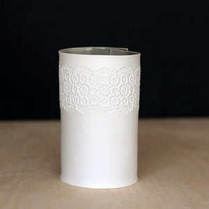 Handcrafted Porcelain Tea Light Holder With Vintage Lace Imprinted and Sage Colour Glazed Handmade Ceramics in London