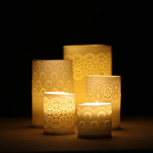 Handcrafted Porcelain Tea Light Holder With Vintage Lace Imprinted and Yellow Colour Glazed Handmade Ceramics in London