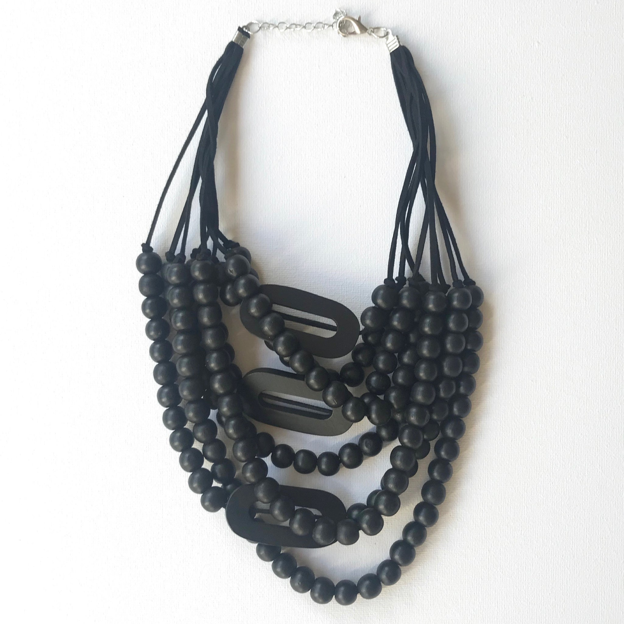 Black Wood Chunky Beaded Necklace