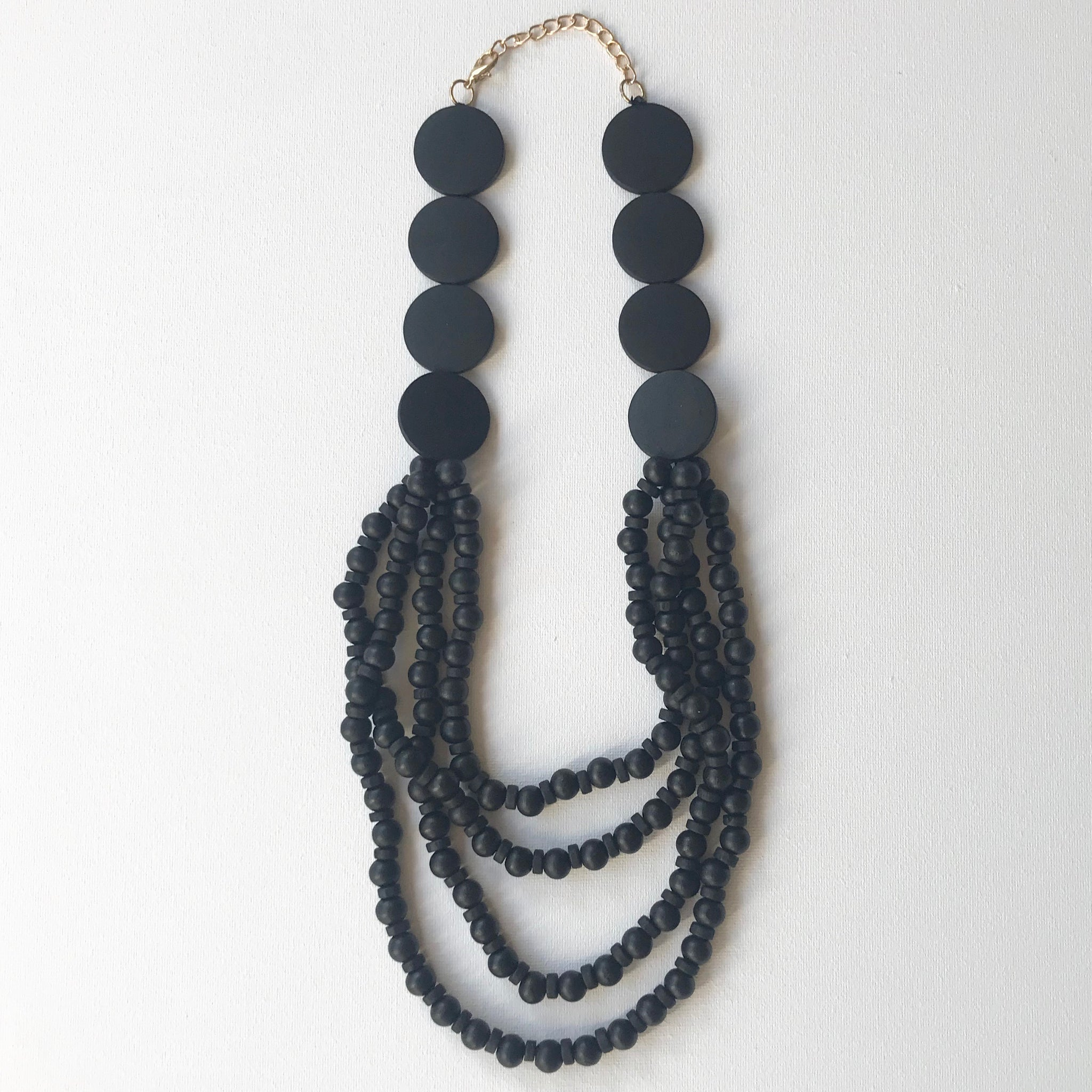 Black Wood Beaded Necklace