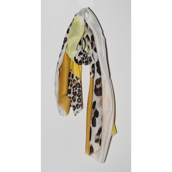 Leopard print colourblock scarf